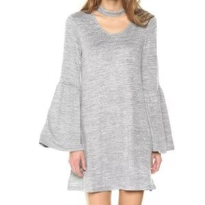 NWT Nordstrom Gray Choker Bell Sleeve Shift Dress